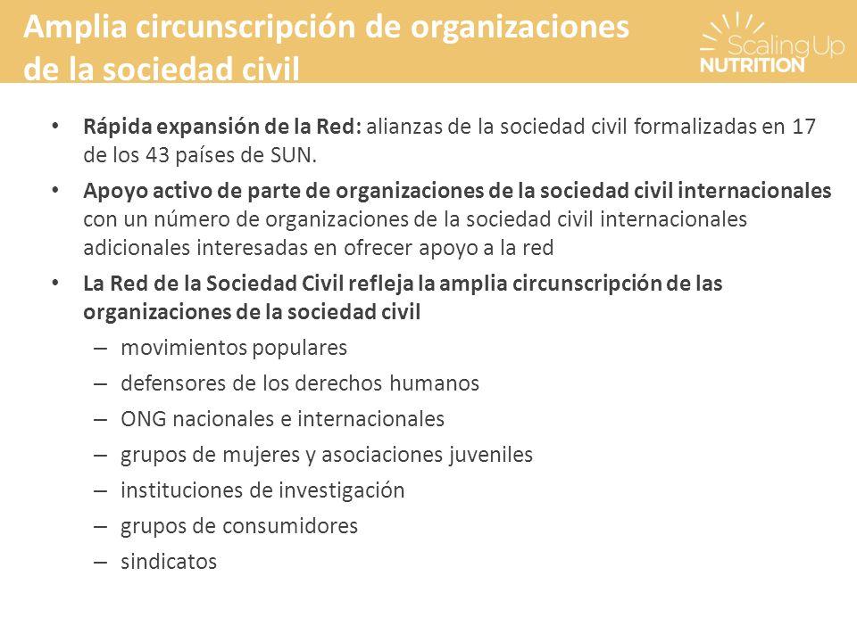 Rápida expansión de la Red: alianzas de la sociedad civil formalizadas en 17 de los 43 países de SUN. Apoyo activo de parte de organizaciones de la so
