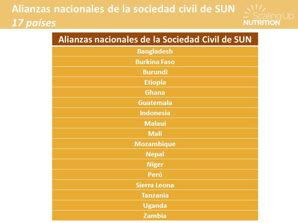 Alianzas nacionales de la Sociedad Civil de SUN Bangladesh Burkina Faso Burundi Etiopía Ghana Guatemala Indonesia Malaui Malí Mozambique Nepal Níger P
