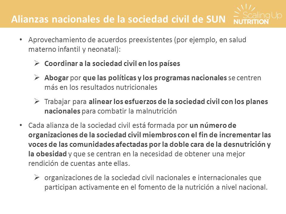 Alianzas nacionales de la sociedad civil de SUN Aprovechamiento de acuerdos preexistentes (por ejemplo, en salud materno infantil y neonatal): Coordin