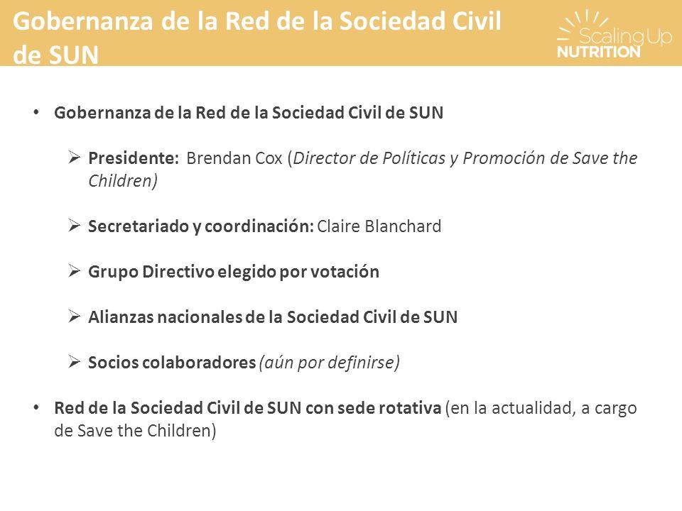 Gobernanza de la Red de la Sociedad Civil de SUN Presidente: Brendan Cox (Director de Políticas y Promoción de Save the Children) Secretariado y coord