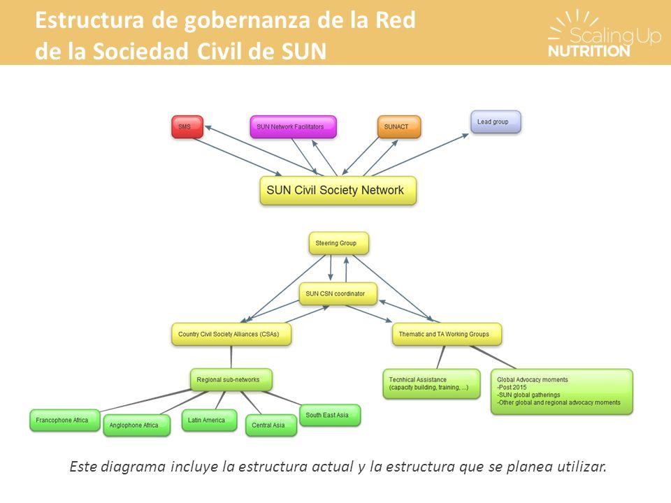 Estructura de gobernanza de la Red de la Sociedad Civil de SUN Este diagrama incluye la estructura actual y la estructura que se planea utilizar.