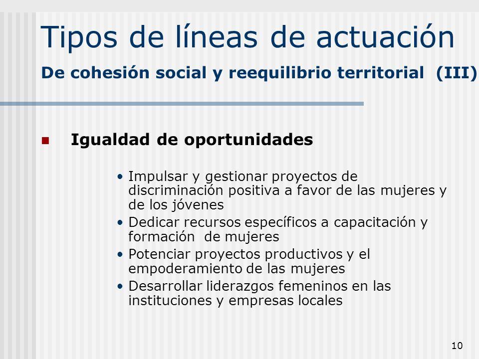 10 Tipos de líneas de actuación Igualdad de oportunidades Impulsar y gestionar proyectos de discriminación positiva a favor de las mujeres y de los jó