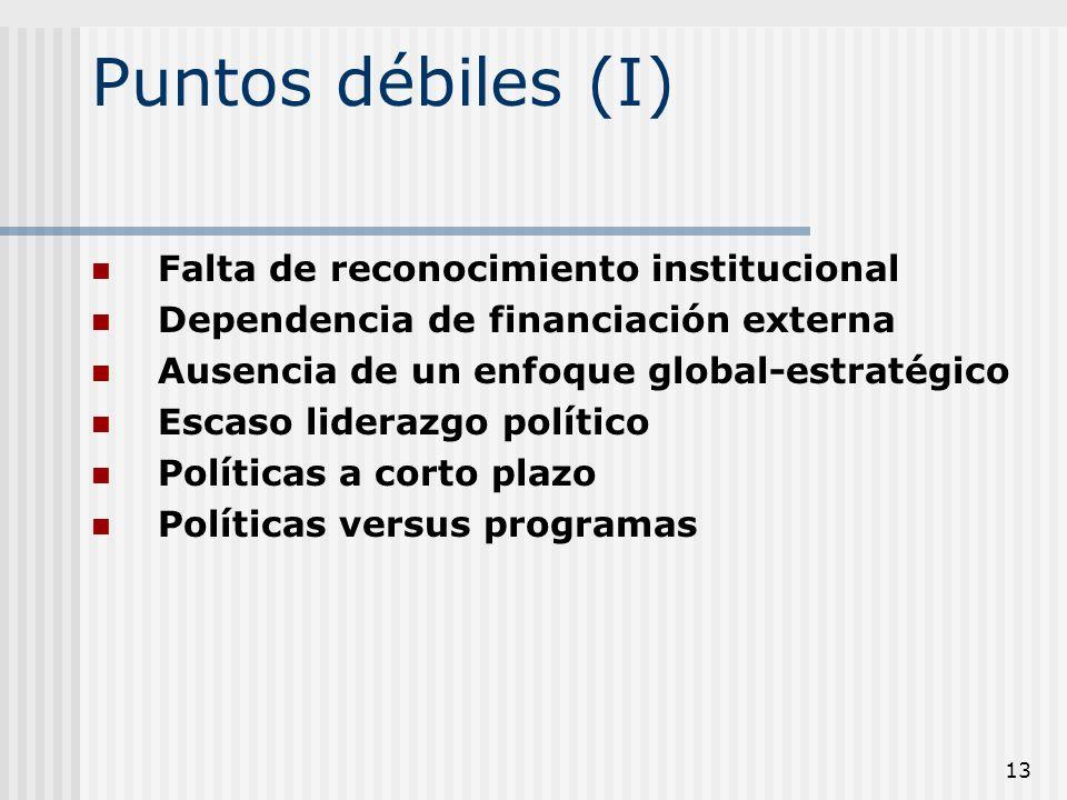 13 Puntos débiles (I) Falta de reconocimiento institucional Dependencia de financiación externa Ausencia de un enfoque global-estratégico Escaso lider