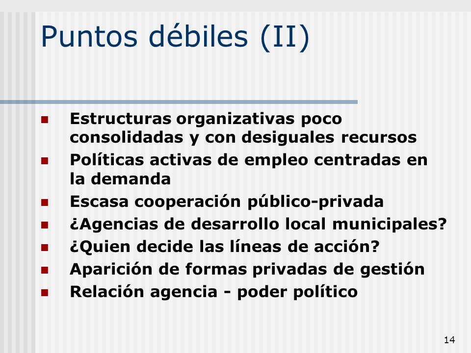 14 Puntos débiles (II) Estructuras organizativas poco consolidadas y con desiguales recursos Políticas activas de empleo centradas en la demanda Escas