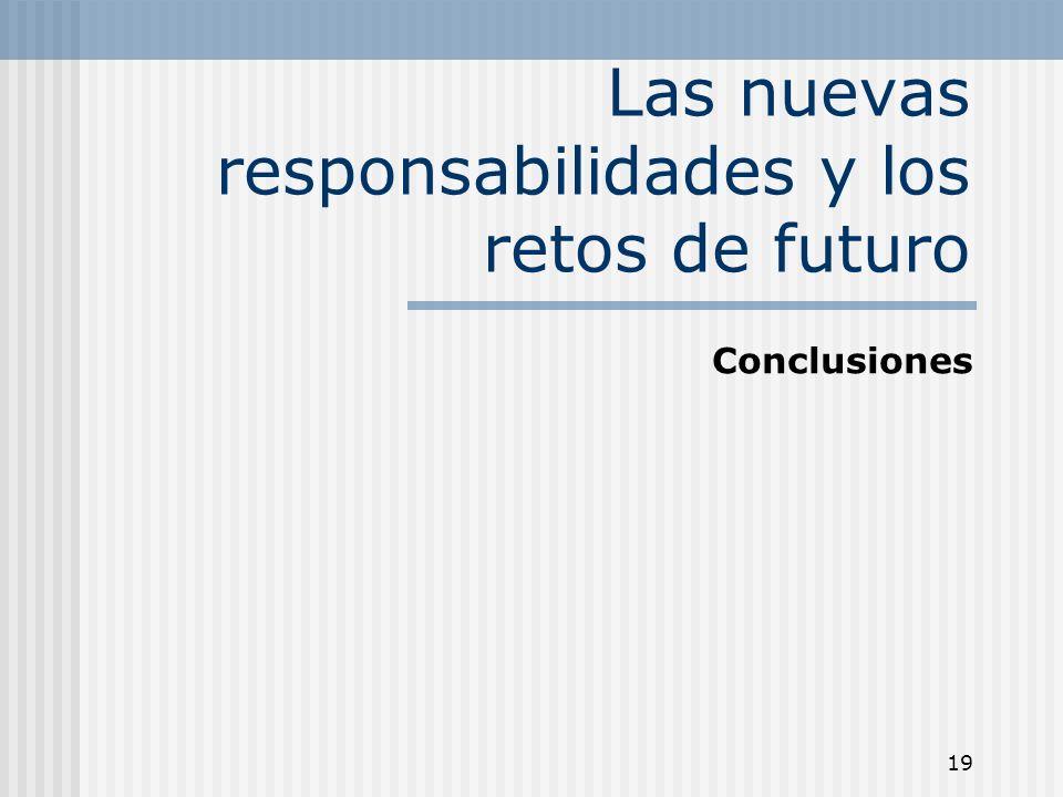 19 Las nuevas responsabilidades y los retos de futuro Conclusiones