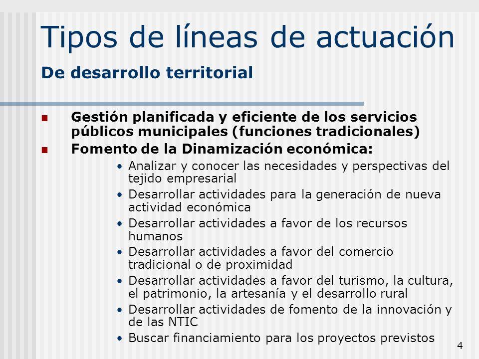 4 Tipos de líneas de actuación Gestión planificada y eficiente de los servicios públicos municipales (funciones tradicionales) Fomento de la Dinamizac