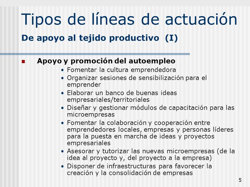 5 Tipos de líneas de actuación Apoyo y promoción del autoempleo Fomentar la cultura emprendedora Organizar sesiones de sensibilización para el emprend
