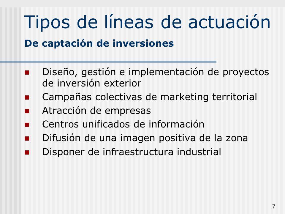 7 Tipos de líneas de actuación Diseño, gestión e implementación de proyectos de inversión exterior Campañas colectivas de marketing territorial Atracc