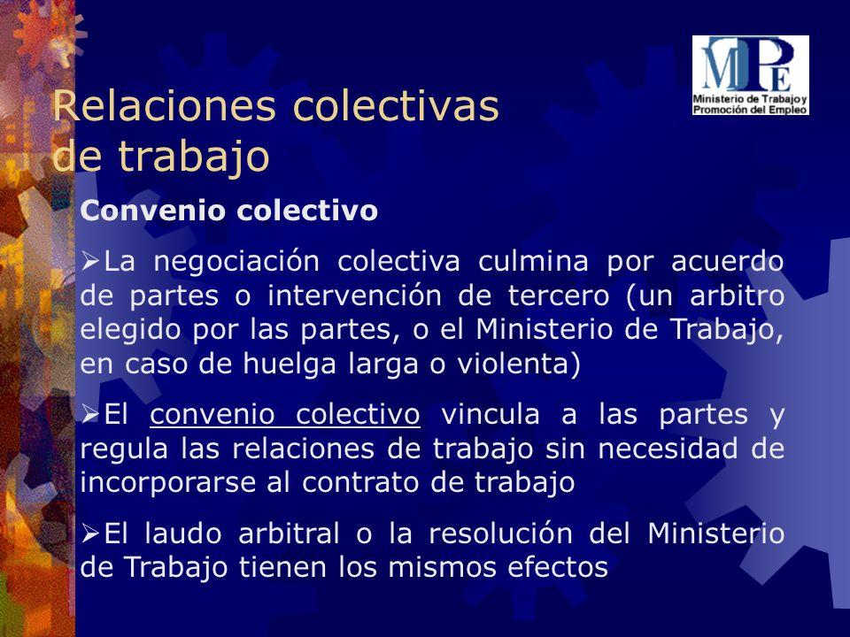 Relaciones colectivas de trabajo Convenio colectivo La negociación colectiva culmina por acuerdo de partes o intervención de tercero (un arbitro elegi