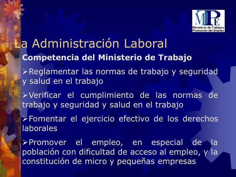 La Administración Laboral Competencia del Ministerio de Trabajo Reglamentar las normas de trabajo y seguridad y salud en el trabajo Verificar el cumpl