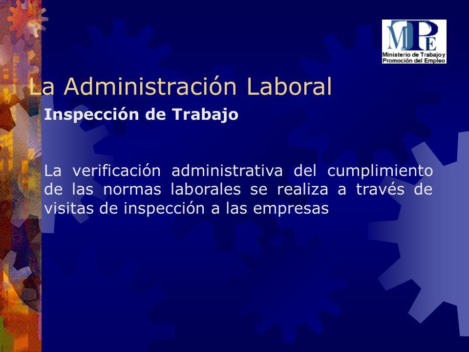 Inspección de Trabajo La verificación administrativa del cumplimiento de las normas laborales se realiza a través de visitas de inspección a las empre
