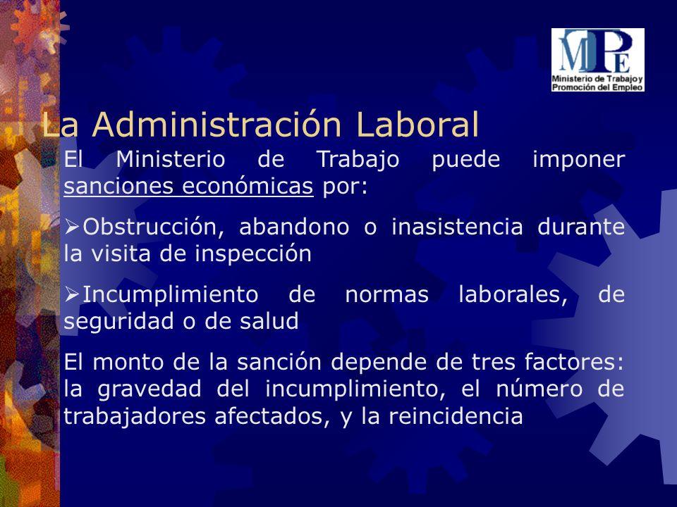 La Administración Laboral El Ministerio de Trabajo puede imponer sanciones económicas por: Obstrucción, abandono o inasistencia durante la visita de i