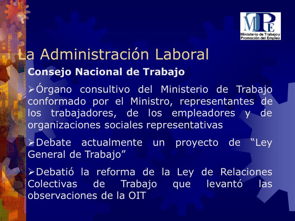 La Administración Laboral Consejo Nacional de Trabajo Órgano consultivo del Ministerio de Trabajo conformado por el Ministro, representantes de los tr