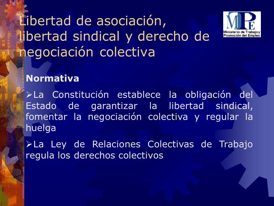 Libertad de asociación, libertad sindical y derecho de negociación colectiva Normativa La Constitución establece la obligación del Estado de garantiza