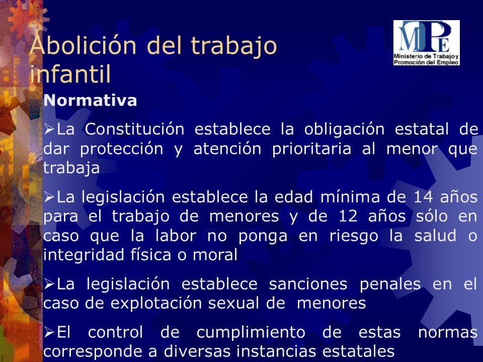 Abolición del trabajo infantil Normativa La Constitución establece la obligación estatal de dar protección y atención prioritaria al menor que trabaja