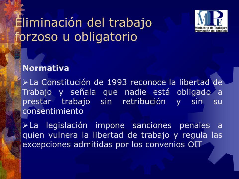 Eliminación del trabajo forzoso u obligatorio Normativa La Constitución de 1993 reconoce la libertad de Trabajo y señala que nadie está obligado a pre