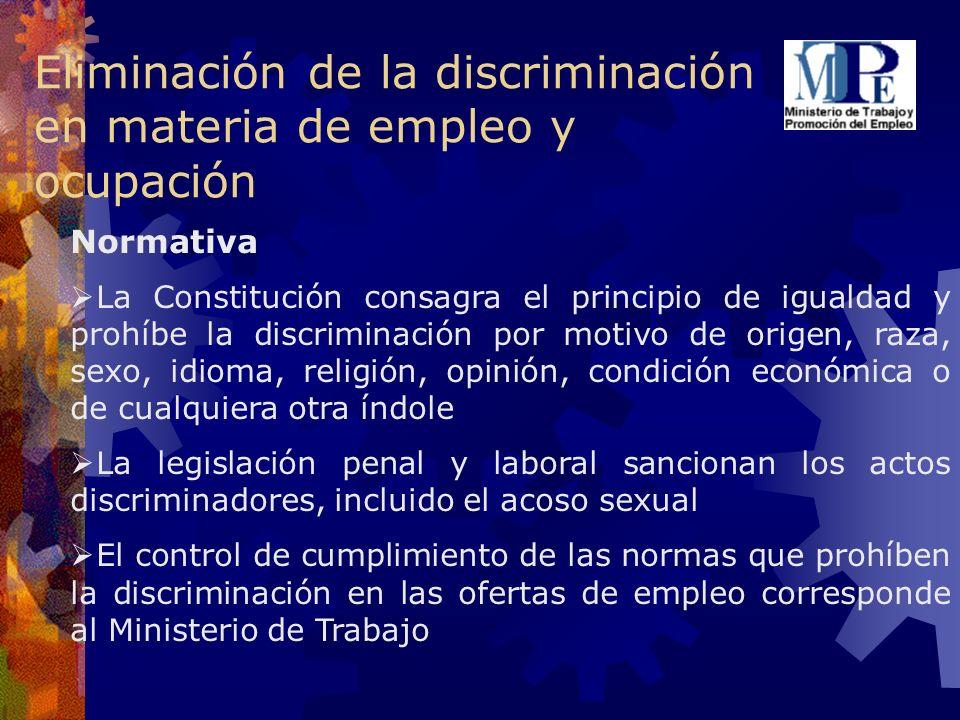 Eliminación de la discriminación en materia de empleo y ocupación Normativa La Constitución consagra el principio de igualdad y prohíbe la discriminac