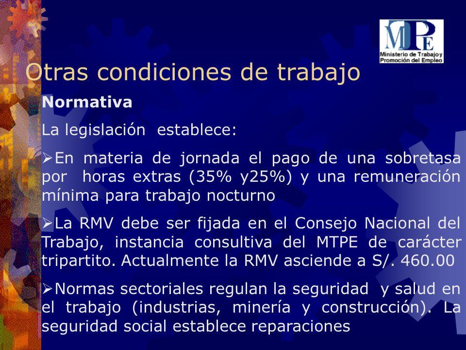 Otras condiciones de trabajo Normativa La legislación establece: En materia de jornada el pago de una sobretasa por horas extras (35% y25%) y una remu