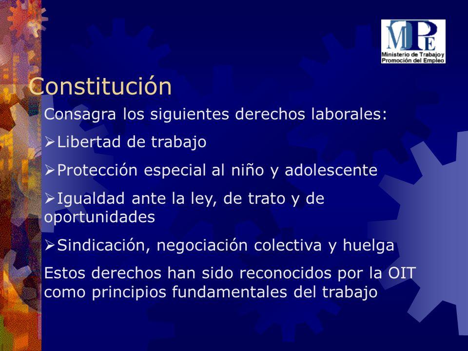 Constitución Consagra los siguientes derechos laborales: Libertad de trabajo Protección especial al niño y adolescente Igualdad ante la ley, de trato