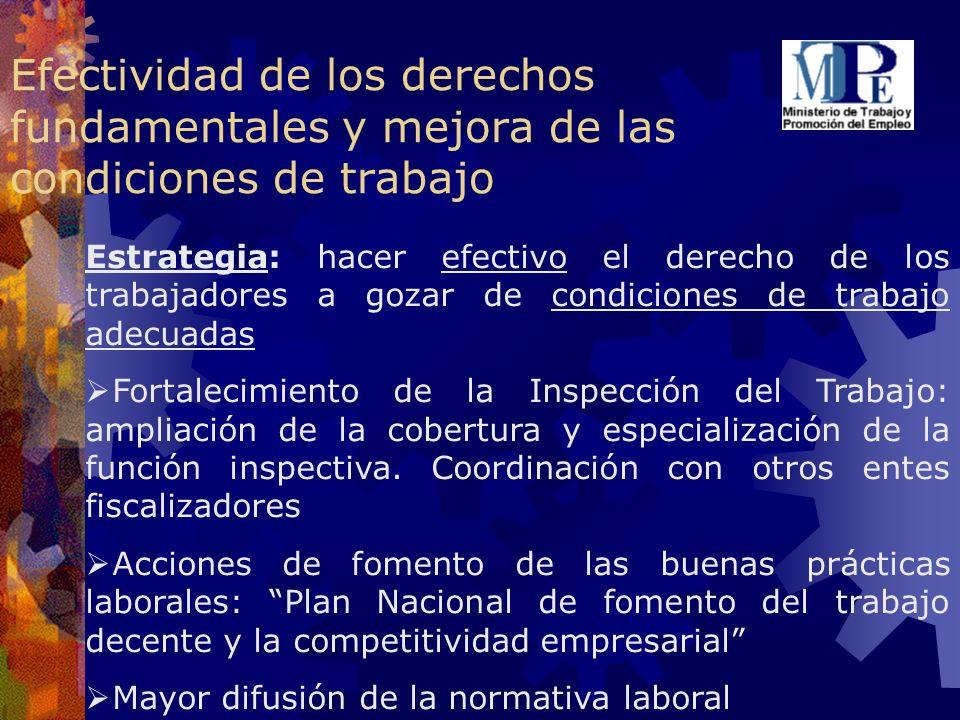 Efectividad de los derechos fundamentales y mejora de las condiciones de trabajo Estrategia: hacer efectivo el derecho de los trabajadores a gozar de