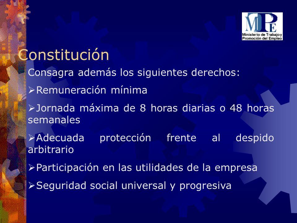 Constitución Consagra además los siguientes derechos: Remuneración mínima Jornada máxima de 8 horas diarias o 48 horas semanales Adecuada protección f