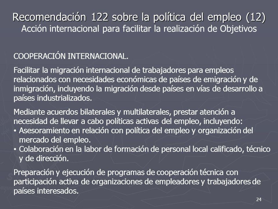 Recomendación 122 sobre la política del empleo (12) Recomendación 122 sobre la política del empleo (12) Acción internacional para facilitar la realización de Objetivos COOPERACIÓN INTERNACIONAL.