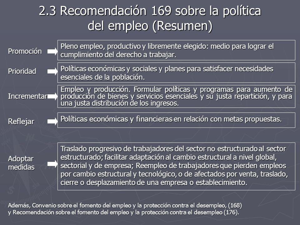 2.3 Recomendación 169 sobre la política del empleo (Resumen) Promoción Pleno empleo, productivo y libremente elegido: medio para lograr el cumplimiento del derecho a trabajar.