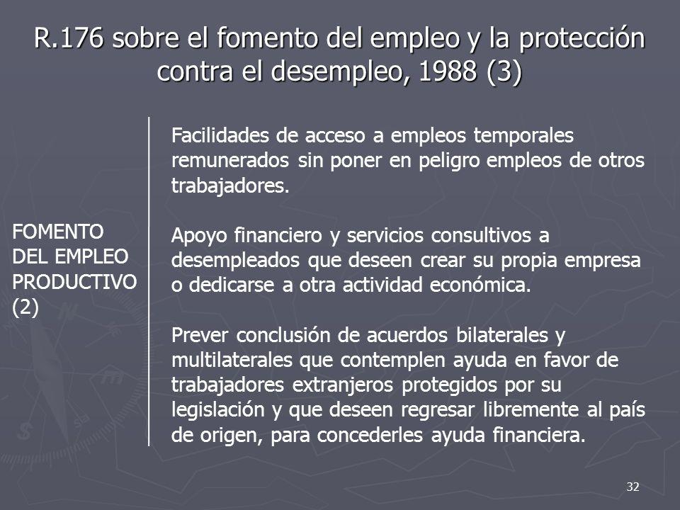 R.176 sobre el fomento del empleo y la protección contra el desempleo, 1988 (3) FOMENTO DEL EMPLEO PRODUCTIVO (2) Facilidades de acceso a empleos temporales remunerados sin poner en peligro empleos de otros trabajadores.