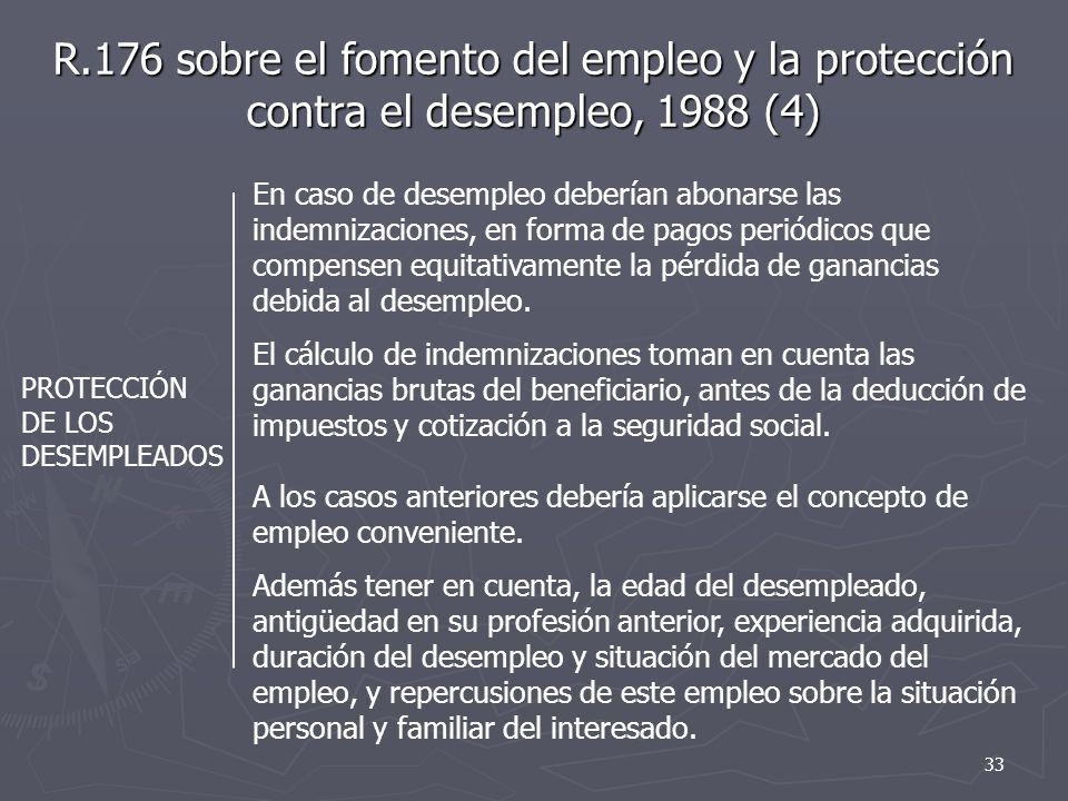 R.176 sobre el fomento del empleo y la protección contra el desempleo, 1988 (4) PROTECCIÓN DE LOS DESEMPLEADOS En caso de desempleo deberían abonarse