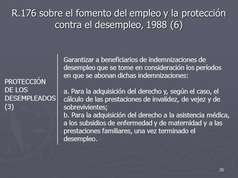 R.176 sobre el fomento del empleo y la protección contra el desempleo, 1988 (6) PROTECCIÓN DE LOS DESEMPLEADOS (3) Garantizar a beneficiarios de indemnizaciones de desempleo que se tome en consideración los períodos en que se abonan dichas indemnizaciones: a.