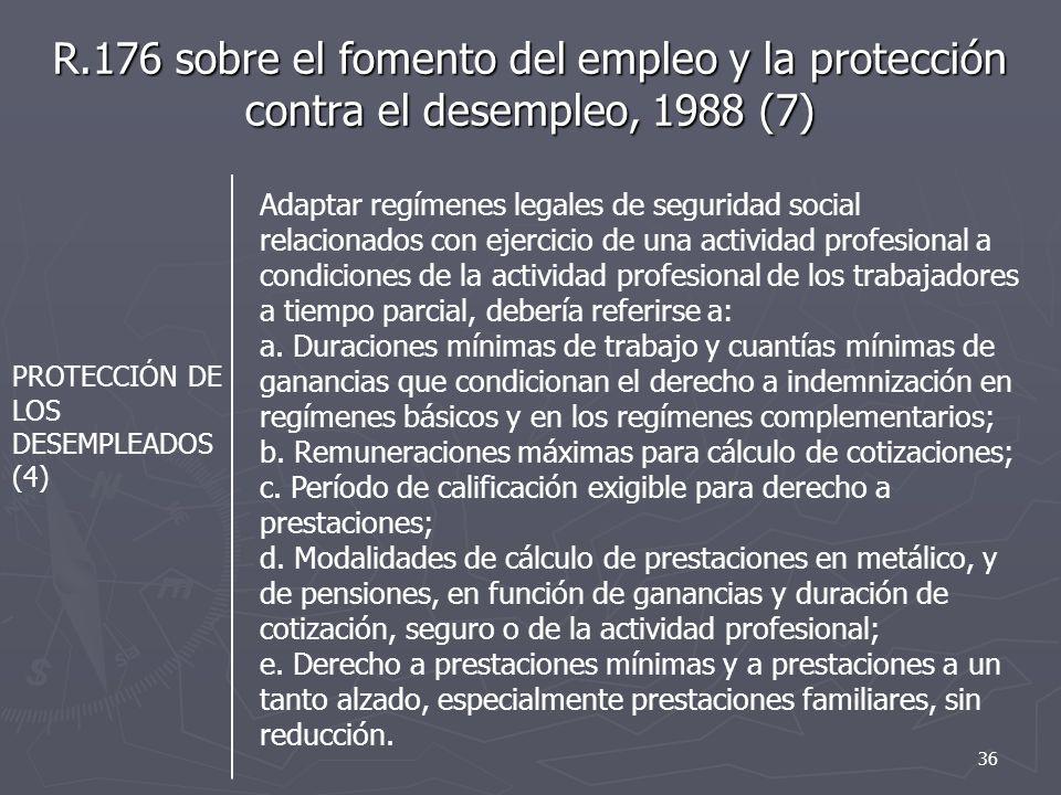 R.176 sobre el fomento del empleo y la protección contra el desempleo, 1988 (7) PROTECCIÓN DE LOS DESEMPLEADOS (4) Adaptar regímenes legales de seguridad social relacionados con ejercicio de una actividad profesional a condiciones de la actividad profesional de los trabajadores a tiempo parcial, debería referirse a: a.