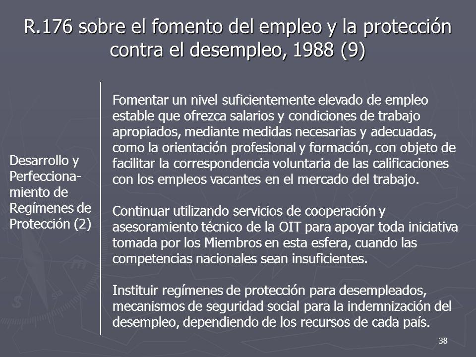 R.176 sobre el fomento del empleo y la protección contra el desempleo, 1988 (9) Desarrollo y Perfecciona- miento de Regímenes de Protección (2) Foment