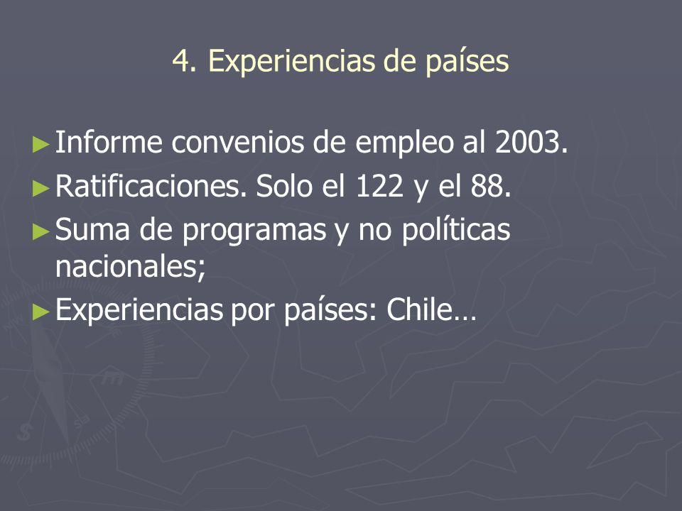 4. Experiencias de países Informe convenios de empleo al 2003. Ratificaciones. Solo el 122 y el 88. Suma de programas y no políticas nacionales; Exper