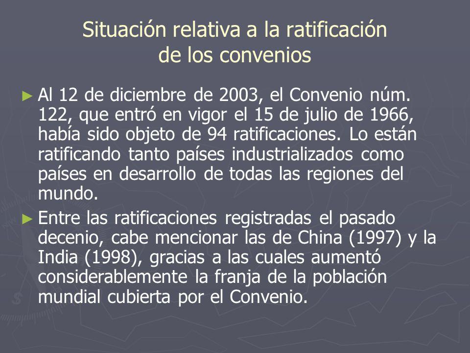 Situación relativa a la ratificación de los convenios Al 12 de diciembre de 2003, el Convenio núm. 122, que entró en vigor el 15 de julio de 1966, hab