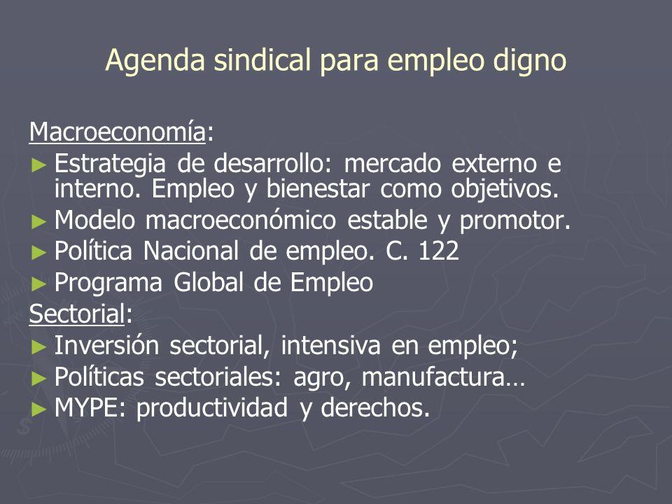 Agenda sindical para empleo digno Macroeconomía: Estrategia de desarrollo: mercado externo e interno. Empleo y bienestar como objetivos. Modelo macroe