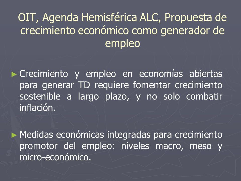 OIT, Agenda Hemisférica ALC, Propuesta de crecimiento económico como generador de empleo Crecimiento y empleo en economías abiertas para generar TD requiere fomentar crecimiento sostenible a largo plazo, y no solo combatir inflación.