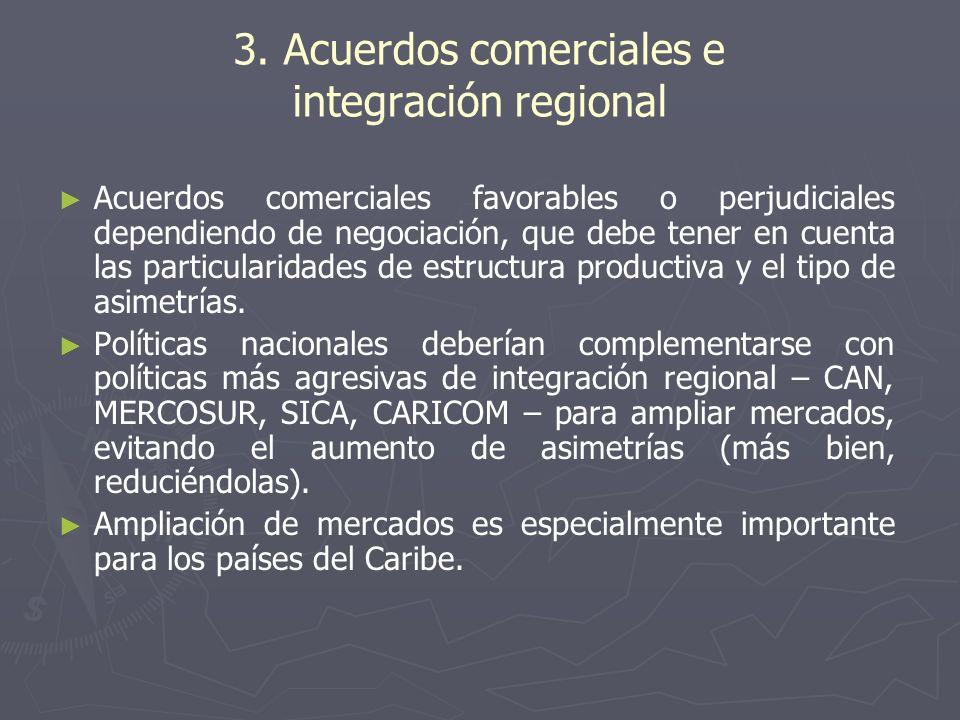 3. Acuerdos comerciales e integración regional Acuerdos comerciales favorables o perjudiciales dependiendo de negociación, que debe tener en cuenta la