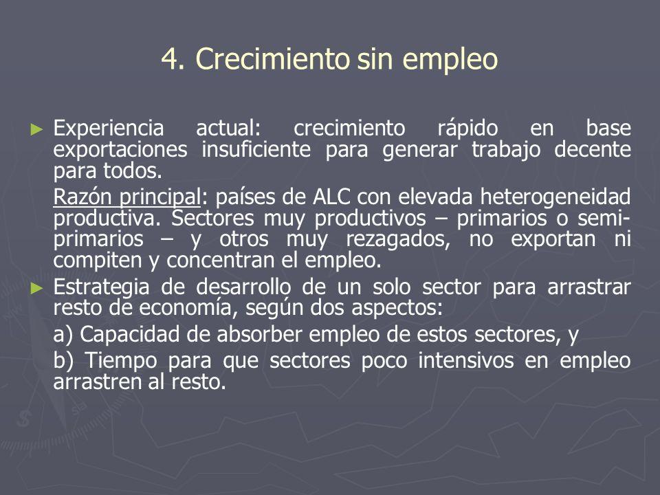 4. Crecimiento sin empleo Experiencia actual: crecimiento rápido en base exportaciones insuficiente para generar trabajo decente para todos. Razón pri