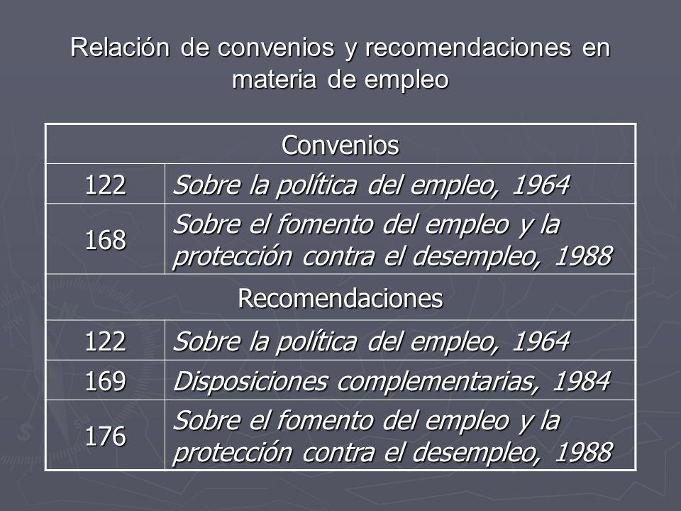 Relación de convenios y recomendaciones en materia de empleo Convenios 122 Sobre la política del empleo, 1964 168 Sobre el fomento del empleo y la pro