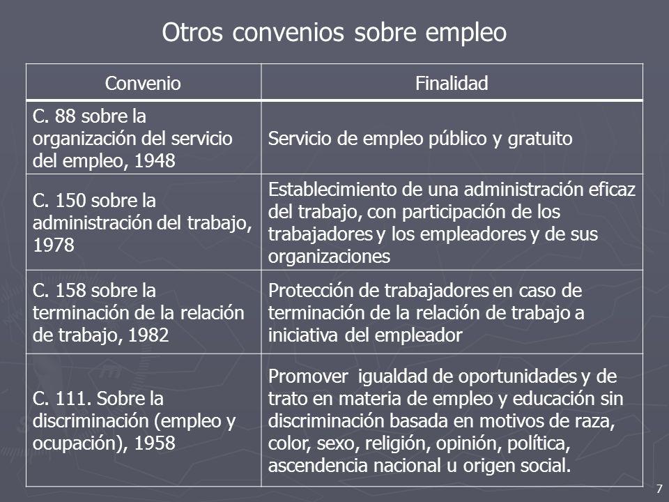 Otros convenios sobre empleo 7 ConvenioFinalidad C. 88 sobre la organización del servicio del empleo, 1948 Servicio de empleo público y gratuito C. 15