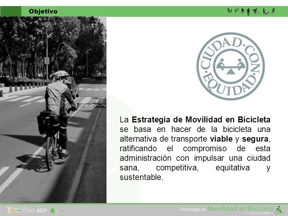 Objetivo La Estrategia de Movilidad en Bicicleta se basa en hacer de la bicicleta una alternativa de transporte viable y segura, ratificando el compro
