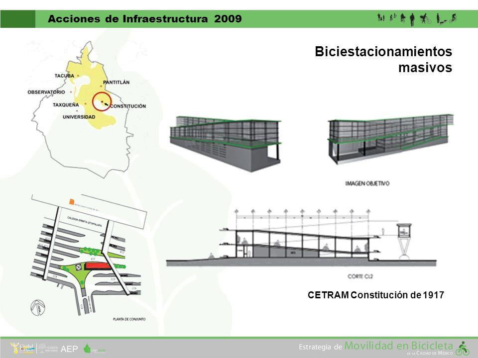 Acciones de Infraestructura 2009 CETRAM Constitución de 1917 Biciestacionamientos masivos