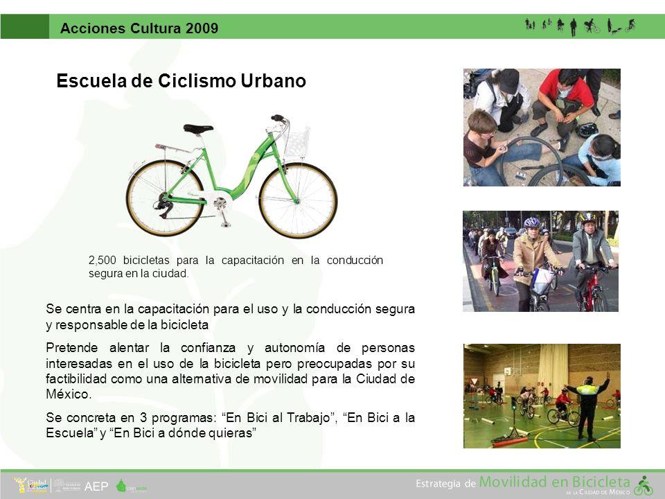 Acciones Cultura 2009 Escuela de Ciclismo Urbano 2,500 bicicletas para la capacitación en la conducción segura en la ciudad. Se centra en la capacitac