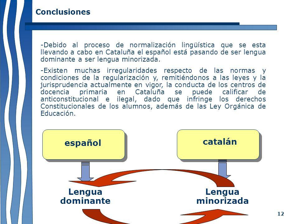 12 -Debido al proceso de normalización lingüística que se esta llevando a cabo en Cataluña el español está pasando de ser lengua dominante a ser lengu