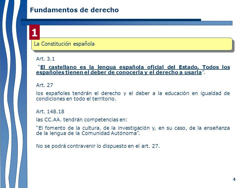 4 Fundamentos de derecho Art. 3.1 El castellano es la lengua española oficial del Estado. Todos los españoles tienen el deber de conocerla y el derech