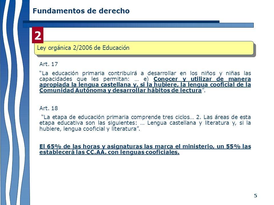 5 Fundamentos de derecho Art. 17 La educación primaria contribuirá a desarrollar en los niños y niñas las capacidades que les permitan: … e) Conocer y