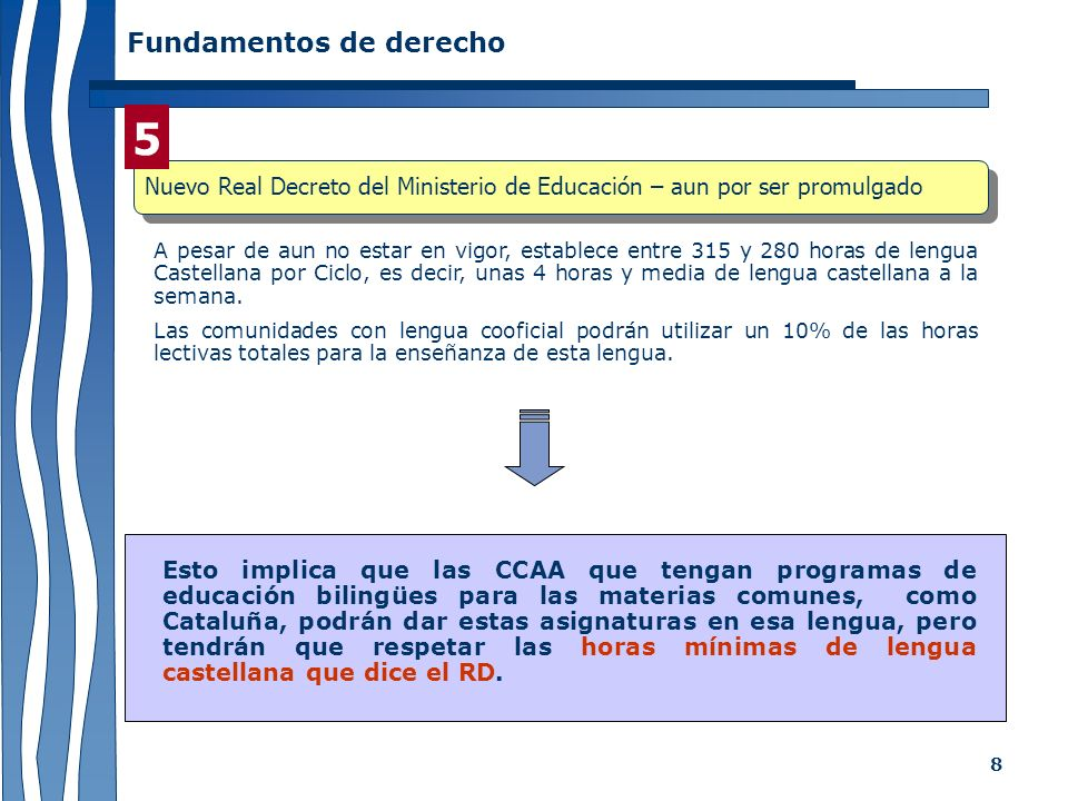 8 Fundamentos de derecho A pesar de aun no estar en vigor, establece entre 315 y 280 horas de lengua Castellana por Ciclo, es decir, unas 4 horas y me