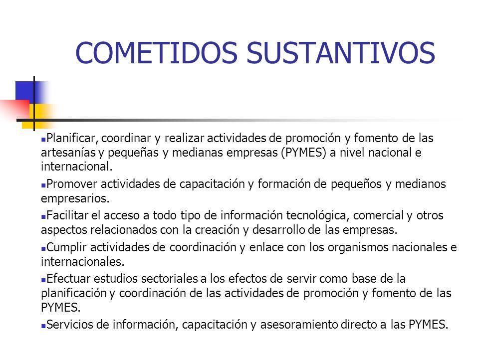 COMETIDOS SUSTANTIVOS Planificar, coordinar y realizar actividades de promoción y fomento de las artesanías y pequeñas y medianas empresas (PYMES) a n