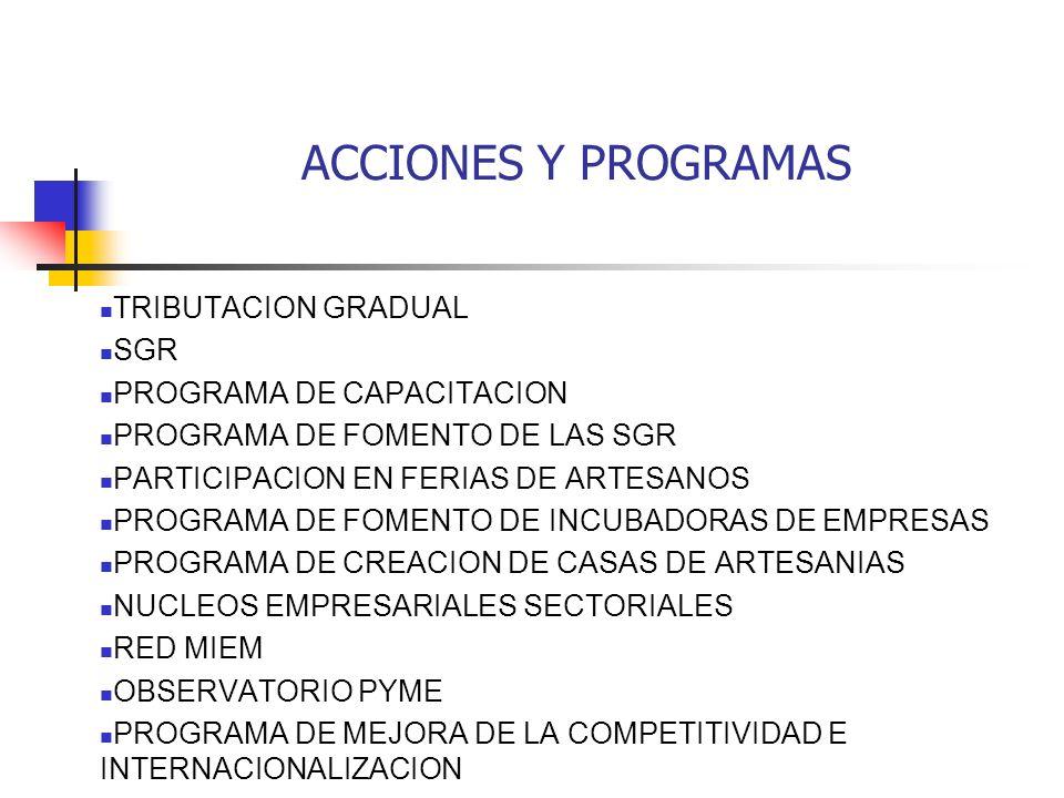 ACCIONES Y PROGRAMAS TRIBUTACION GRADUAL SGR PROGRAMA DE CAPACITACION PROGRAMA DE FOMENTO DE LAS SGR PARTICIPACION EN FERIAS DE ARTESANOS PROGRAMA DE