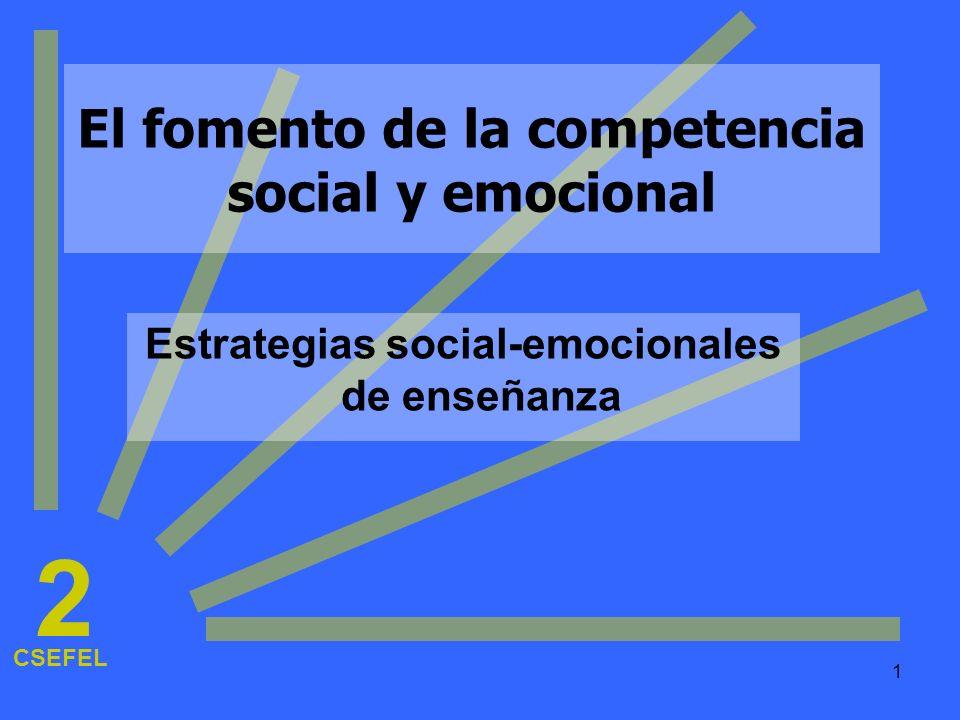 1 El fomento de la competencia social y emocional Estrategias social-emocionales de enseñanza CSEFEL 2